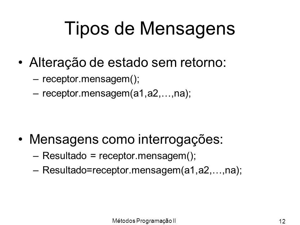 Métodos Programação II 12 Tipos de Mensagens Alteração de estado sem retorno: –receptor.mensagem(); –receptor.mensagem(a1,a2,…,na); Mensagens como int