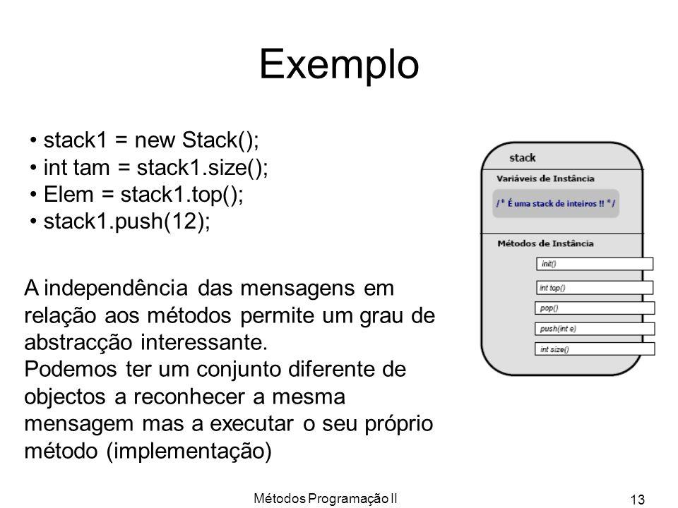 Métodos Programação II 13 Exemplo stack1 = new Stack(); int tam = stack1.size(); Elem = stack1.top(); stack1.push(12); A independência das mensagens e