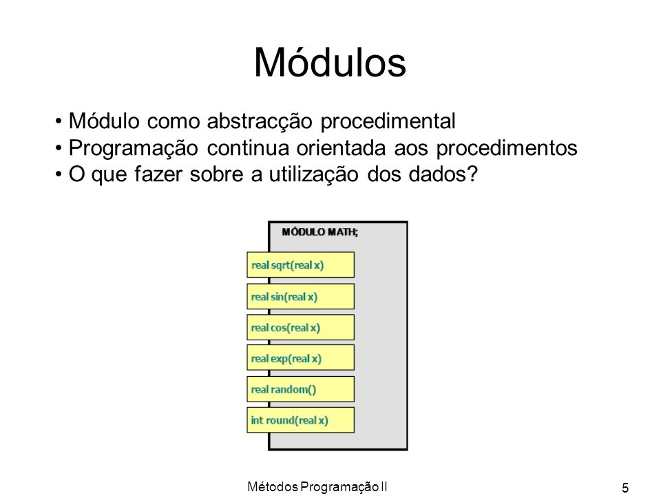 Métodos Programação II 5 Módulos Módulo como abstracção procedimental Programação continua orientada aos procedimentos O que fazer sobre a utilização
