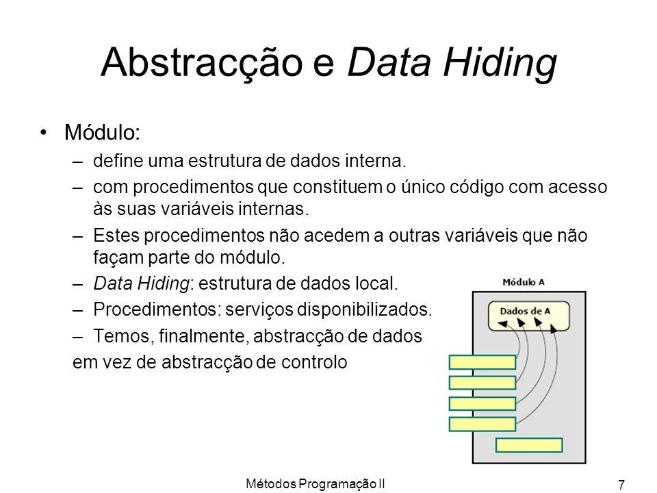 Métodos Programação II 7 Abstracção e Data Hiding Módulo: –define uma estrutura de dados interna. –com procedimentos que constituem o único código com