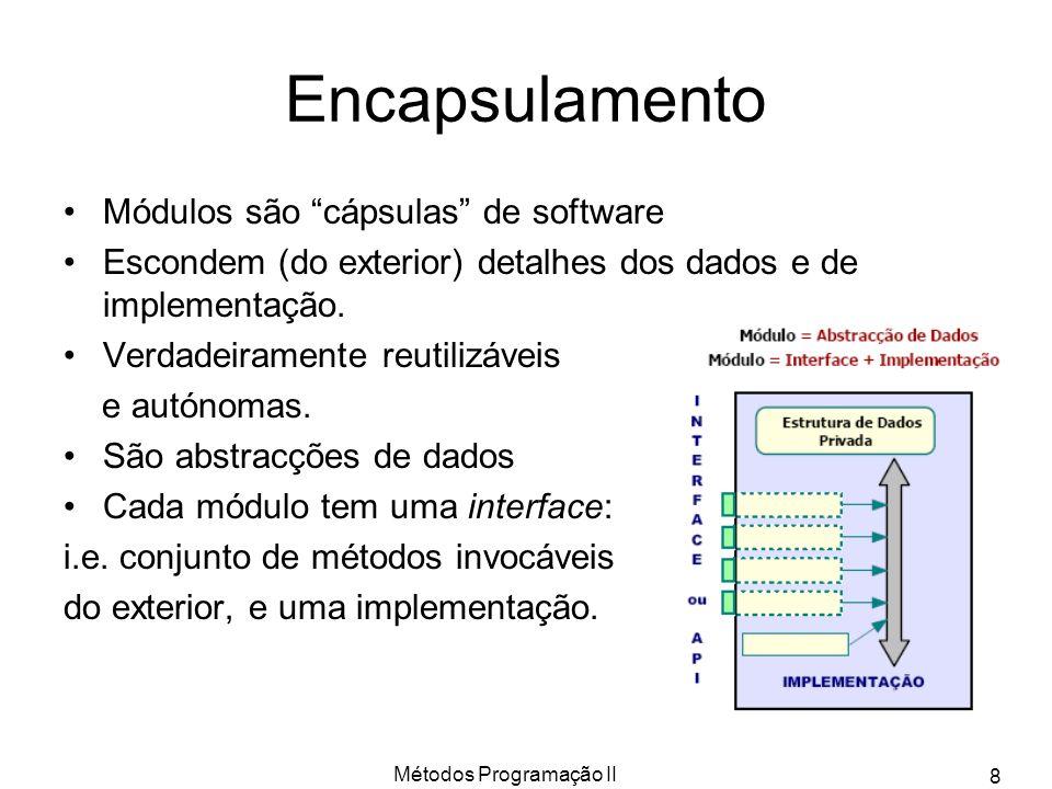 Métodos Programação II 8 Encapsulamento Módulos são cápsulas de software Escondem (do exterior) detalhes dos dados e de implementação. Verdadeiramente
