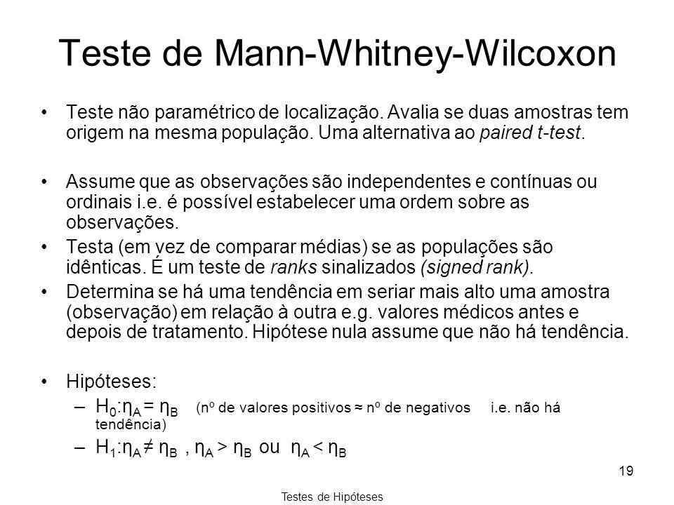 Testes de Hipóteses 19 Teste de Mann-Whitney-Wilcoxon Teste não paramétrico de localização. Avalia se duas amostras tem origem na mesma população. Uma