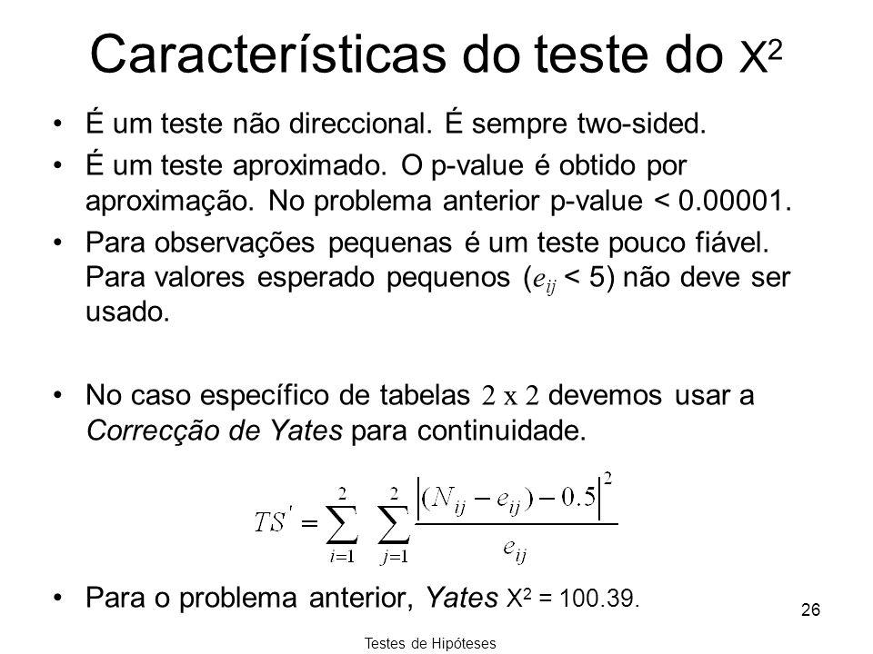 Testes de Hipóteses 26 Características do teste do Χ 2 É um teste não direccional. É sempre two-sided. É um teste aproximado. O p-value é obtido por a