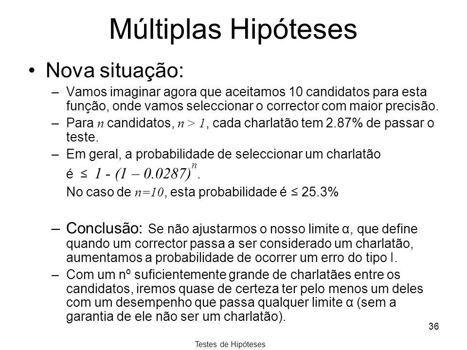 Testes de Hipóteses 36 Múltiplas Hipóteses Nova situação: –Vamos imaginar agora que aceitamos 10 candidatos para esta função, onde vamos seleccionar o