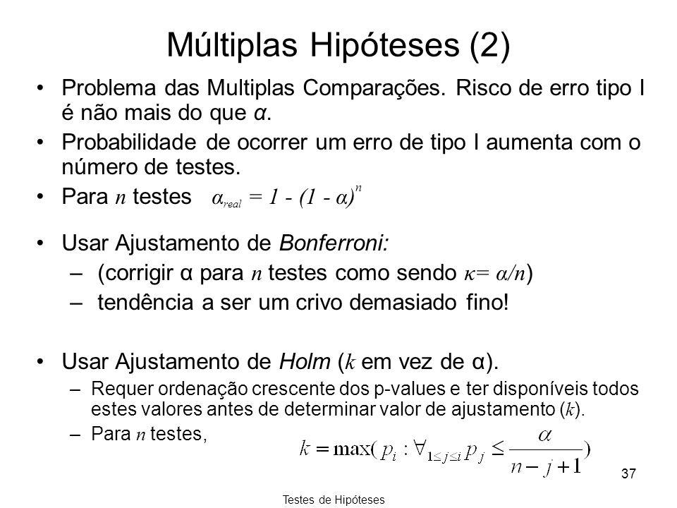 Testes de Hipóteses 37 Múltiplas Hipóteses (2) Problema das Multiplas Comparações. Risco de erro tipo I é não mais do que α. Probabilidade de ocorrer