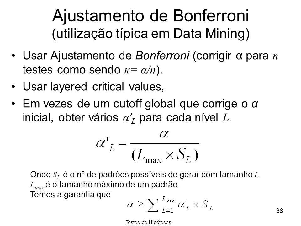 Testes de Hipóteses 38 Ajustamento de Bonferroni (utilização típica em Data Mining) Usar Ajustamento de Bonferroni (corrigir α para n testes como send