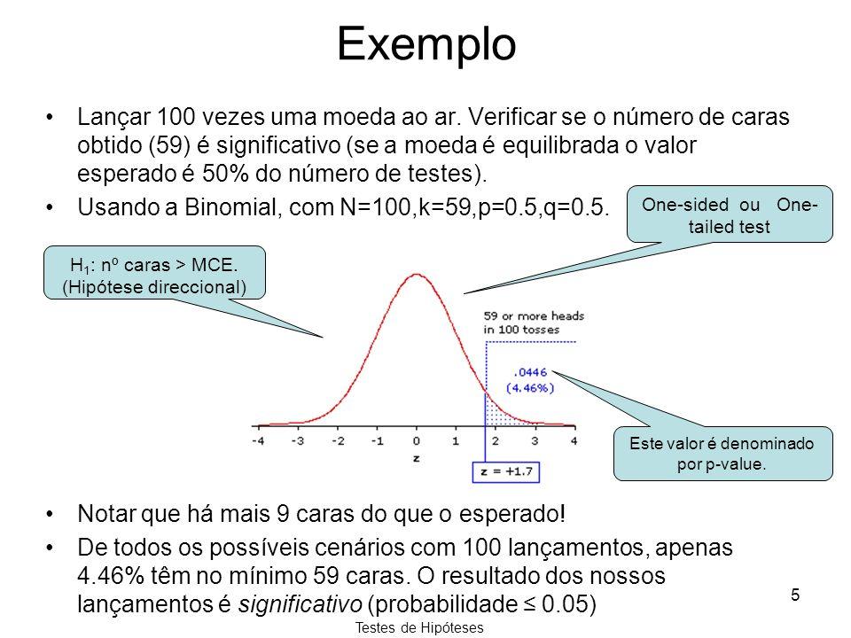 Testes de Hipóteses 5 Exemplo Lançar 100 vezes uma moeda ao ar. Verificar se o número de caras obtido (59) é significativo (se a moeda é equilibrada o