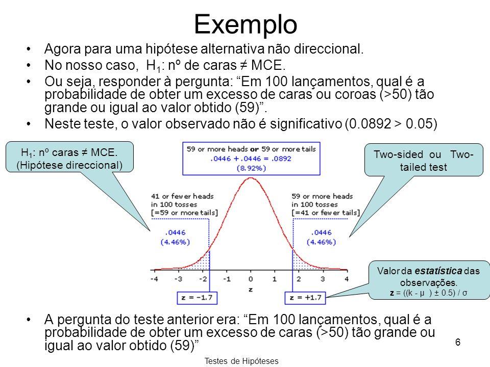 Testes de Hipóteses 6 Exemplo Agora para uma hipótese alternativa não direccional. No nosso caso, H 1 : nº de caras MCE. Ou seja, responder à pergunta
