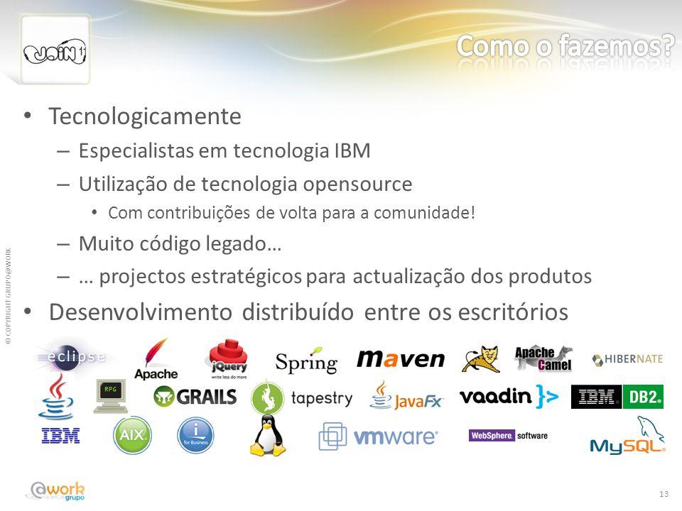 © COPYRIGHT GRUPO@WORK Tecnologicamente – Especialistas em tecnologia IBM – Utilização de tecnologia opensource Com contribuições de volta para a comu