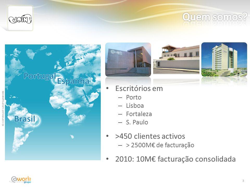 © COPYRIGHT GRUPO@WORK Escritórios em – Porto – Lisboa – Fortaleza – S. Paulo >450 clientes activos – > 2500M de facturação 2010: 10M facturação conso
