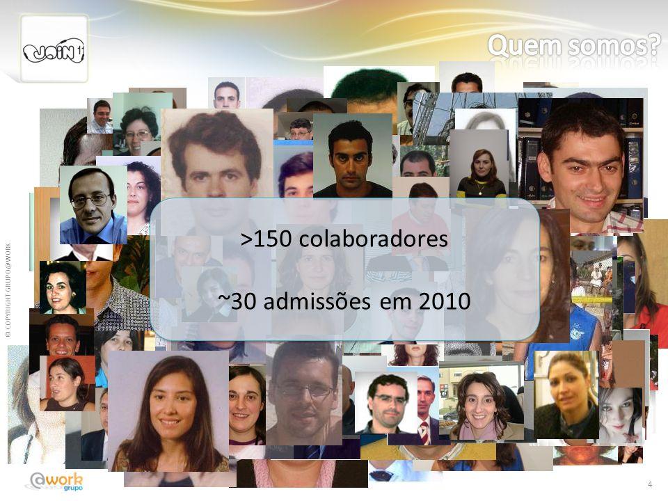 © COPYRIGHT GRUPO@WORK 4 >150 colaboradores ~30 admissões em 2010 >150 colaboradores ~30 admissões em 2010