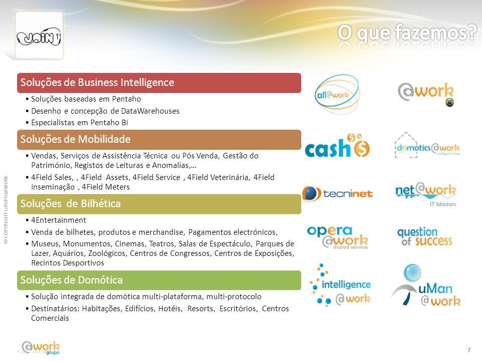 © COPYRIGHT GRUPO@WORK 7 Soluções de Business Intelligence Soluções baseadas em Pentaho Desenho e concepção de DataWarehouses Especialistas em Pentaho