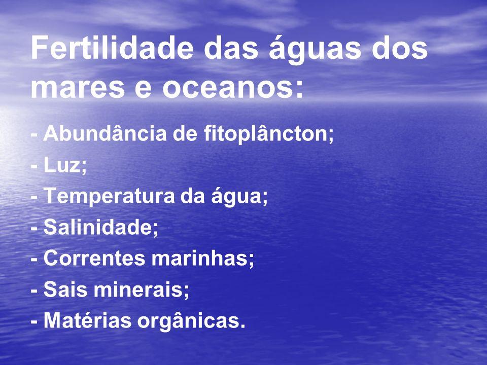 Fertilidade das águas dos mares e oceanos: - Abundância de fitoplâncton; - Luz; - Temperatura da água; - Salinidade; - Correntes marinhas; - Sais mine