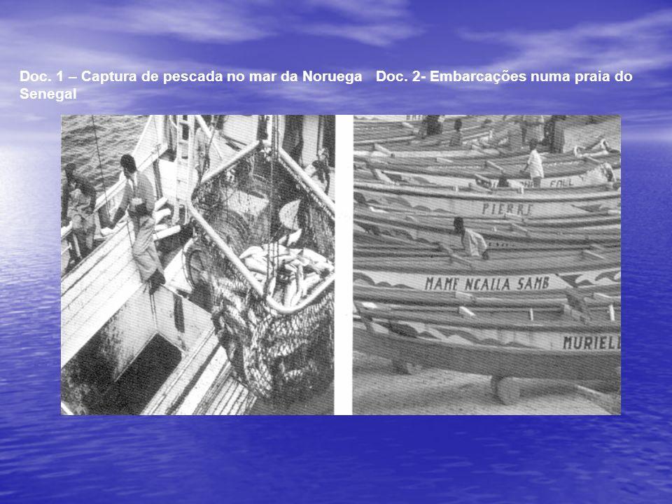 Doc. 1 – Captura de pescada no mar da Noruega Doc. 2- Embarcações numa praia do Senegal