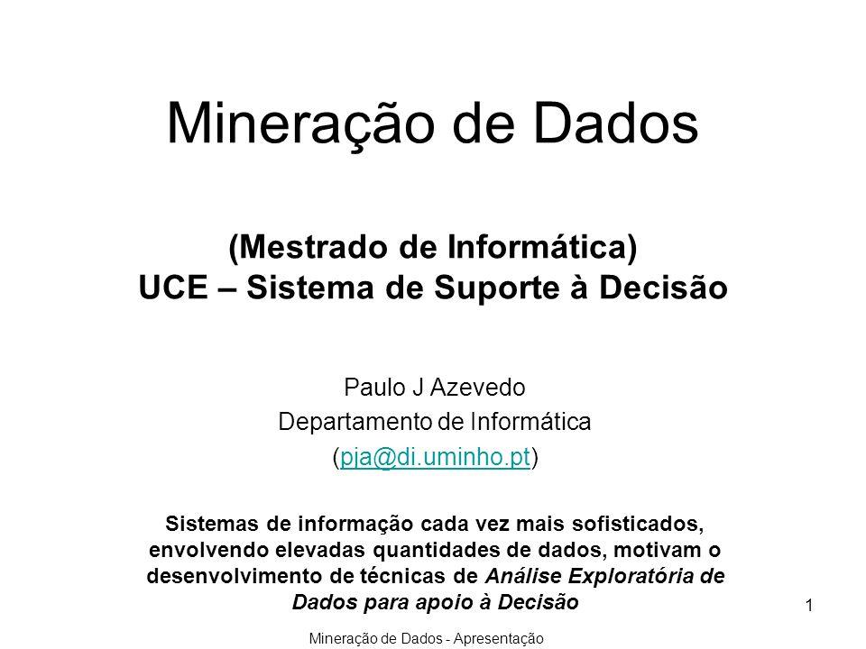 Mineração de Dados - Apresentação 1 Mineração de Dados (Mestrado de Informática) UCE – Sistema de Suporte à Decisão Paulo J Azevedo Departamento de In
