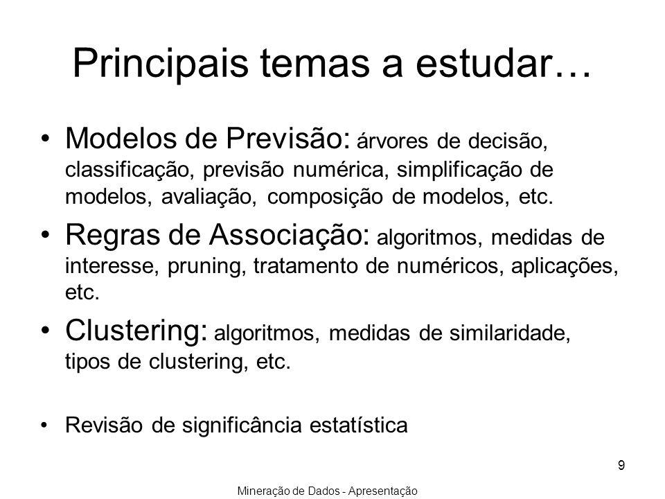 Mineração de Dados - Apresentação 9 Principais temas a estudar… Modelos de Previsão: árvores de decisão, classificação, previsão numérica, simplificaç