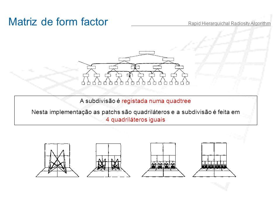 Matriz de form factor Rapid Hierarquichal Radiosity Algorithm A subdivisão é registada numa quadtree Nesta implementação as patchs são quadriláteros e a subdivisão é feita em 4 quadriláteros iguais