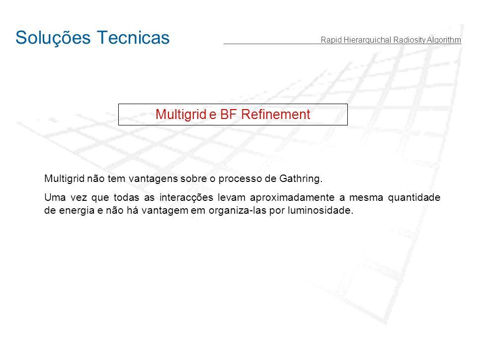 Soluções Tecnicas Rapid Hierarquichal Radiosity Algorithm Multigrid e BF Refinement Multigrid não tem vantagens sobre o processo de Gathring.