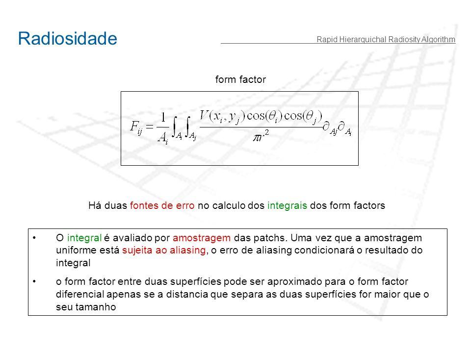 Rapid Hierarquichal Radiosity Algorithm Este algoritmo é rápido mas baseia-se em dois pressupostos: 1- O calculo numérico está sujeito a erro (a força que actua na partícula tem de ser calculada dentro de uma margem de precisão ) 2- A força proveniente de um cluster de partículas pode ser aproximada (dentro de uma margem de precisão) reduzindo o numero de interacções Problema de N-Corpos O algoritmo de subdivisão hierárquica é inspirado na resolução de problemas de n-corpos, em que: cada partícula exerce uma força sobre todas as outras n-1 partículas, implicando uma interacção de n(n-1)/2 partículas