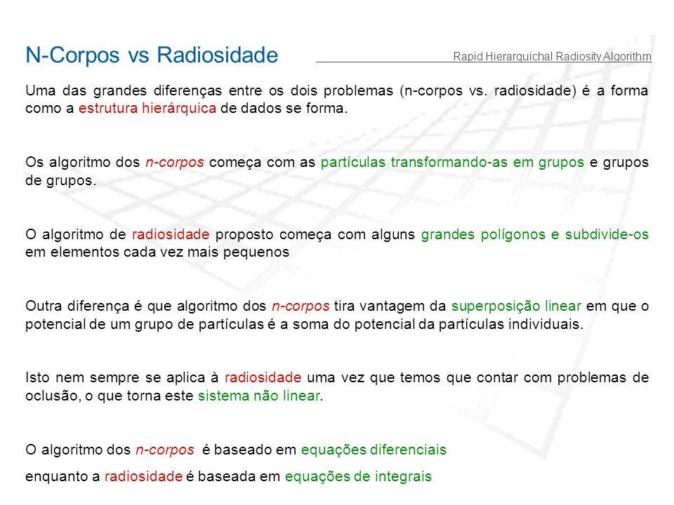 Rapid Hierarquichal Radiosity Algorithm N-Corpos vs Radiosidade Uma das grandes diferenças entre os dois problemas (n-corpos vs.