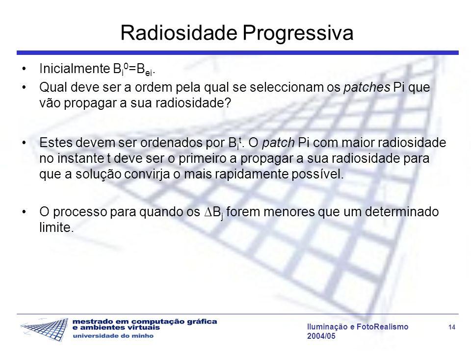 Iluminação e FotoRealismo 14 2004/05 Radiosidade Progressiva Inicialmente B i 0 =B ei.