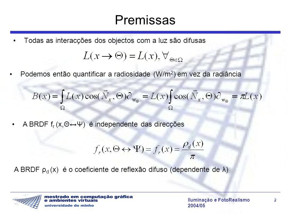 Iluminação e FotoRealismo 13 2004/05 Radiosidade Progressiva