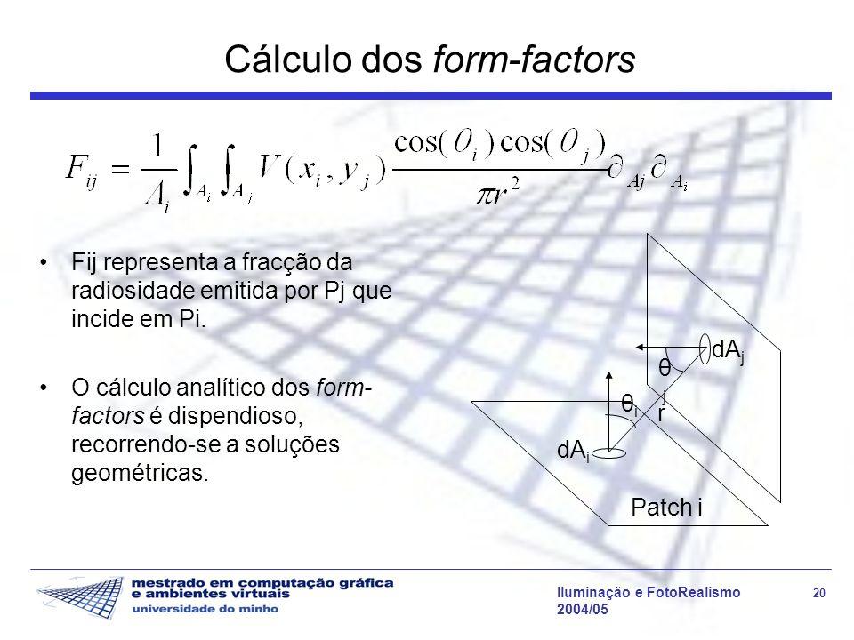 Iluminação e FotoRealismo 20 2004/05 Cálculo dos form-factors Fij representa a fracção da radiosidade emitida por Pj que incide em Pi.
