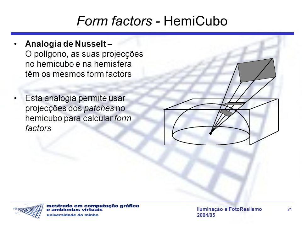 Iluminação e FotoRealismo 21 2004/05 Form factors - HemiCubo Analogia de Nusselt – O polígono, as suas projecções no hemicubo e na hemisfera têm os mesmos form factors Esta analogia permite usar projecções dos patches no hemicubo para calcular form factors