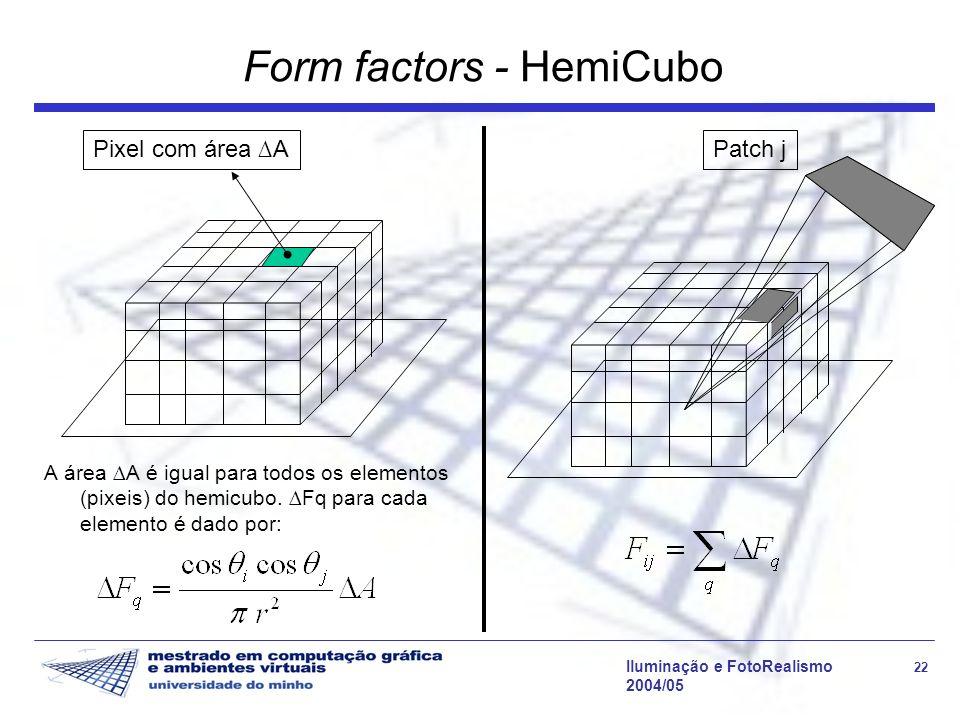Iluminação e FotoRealismo 22 2004/05 Form factors - HemiCubo A área A é igual para todos os elementos (pixeis) do hemicubo.