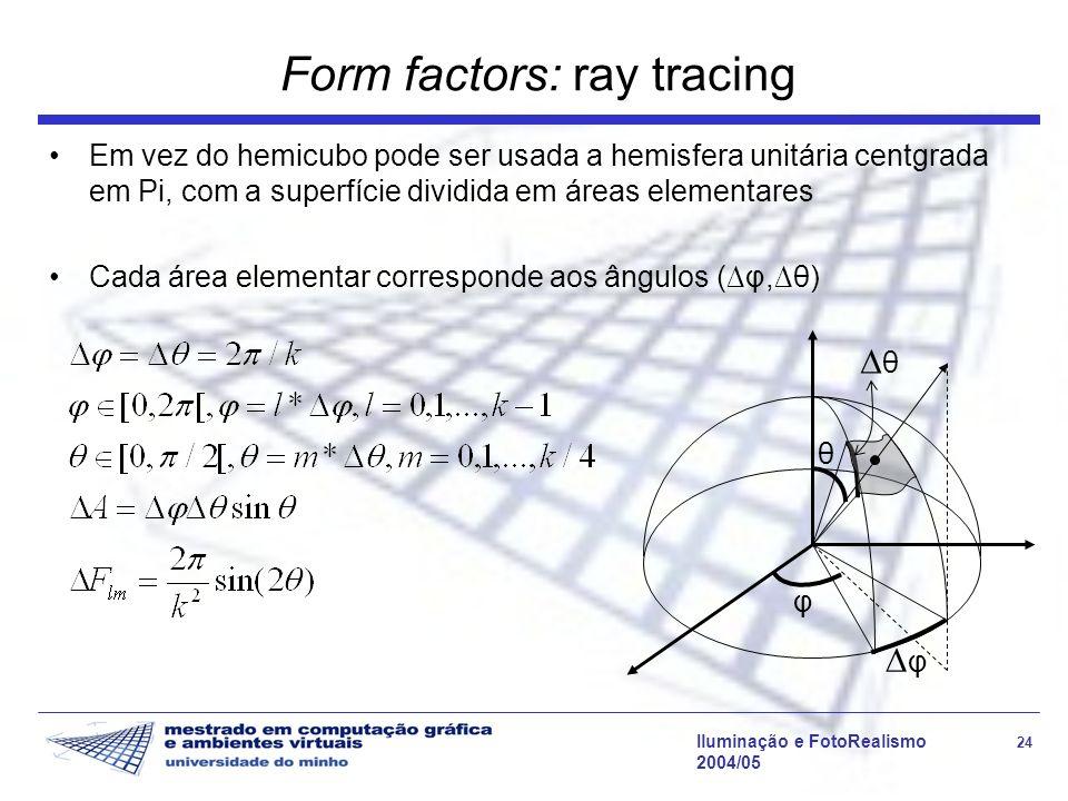 Iluminação e FotoRealismo 24 2004/05 Form factors: ray tracing Em vez do hemicubo pode ser usada a hemisfera unitária centgrada em Pi, com a superfície dividida em áreas elementares Cada área elementar corresponde aos ângulos (φ,θ) θ φ θ φ