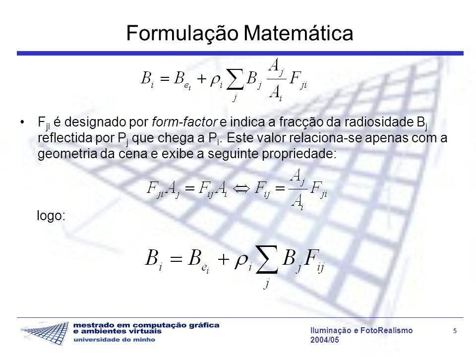 Iluminação e FotoRealismo 16 2004/05 Radiosidade Progressiva