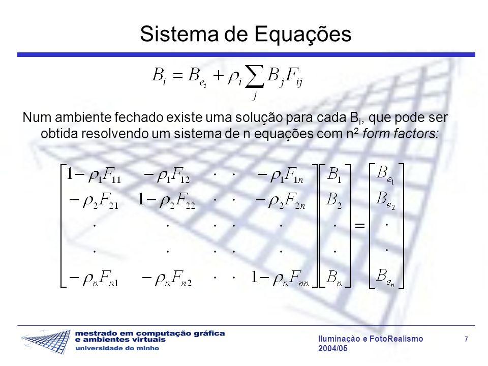 Iluminação e FotoRealismo 18 2004/05 Refinamento da grelha de patches