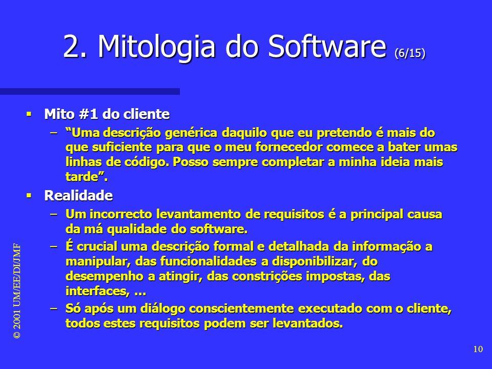 © 2001 UM/EE/DI/JMF 9 Mitos do cliente Mitos do cliente –Um cliente que solicita o desenvolvimento de um determinado programa de software pode ser n o