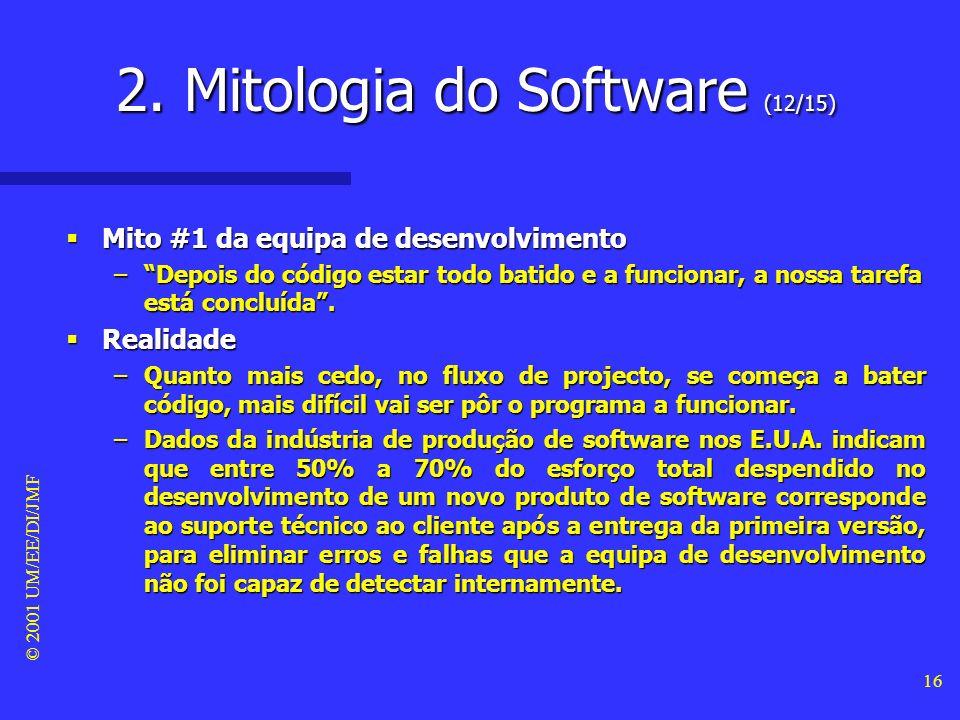 © 2001 UM/EE/DI/JMF 15 Mitos da equipa de desenvolvimento Mitos da equipa de desenvolvimento –A mitologia do software tem sido um legado das várias ge