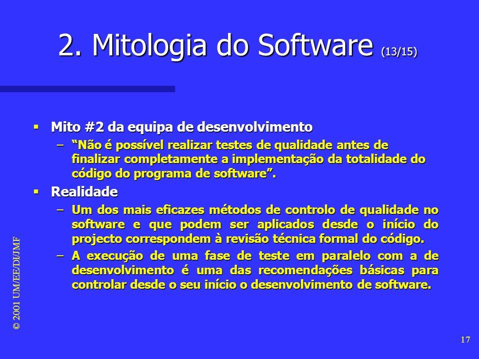 © 2001 UM/EE/DI/JMF 16 Mito #1 da equipa de desenvolvimento Mito #1 da equipa de desenvolvimento –Depois do código estar todo batido e a funcionar, a
