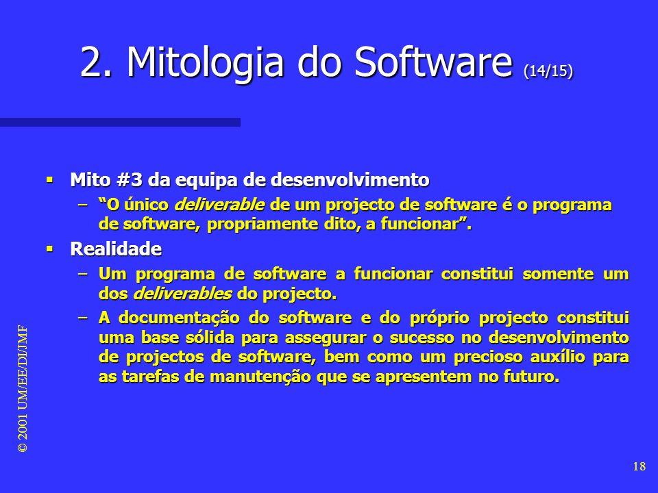 © 2001 UM/EE/DI/JMF 17 Mito #2 da equipa de desenvolvimento Mito #2 da equipa de desenvolvimento –Não é possível realizar testes de qualidade antes de