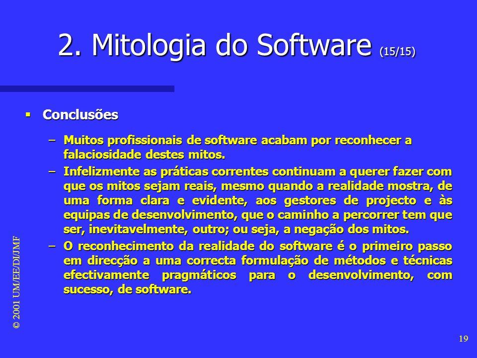 © 2001 UM/EE/DI/JMF 18 Mito #3 da equipa de desenvolvimento Mito #3 da equipa de desenvolvimento –O único deliverable de um projecto de software é o programa de software, propriamente dito, a funcionar.