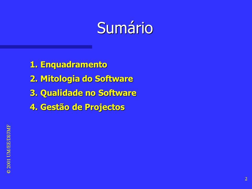 © 2001 UM/EE/DI/JMF 12 Mito #2 do cliente Mito #2 do cliente –Os requisitos do produto que encomendei vão mudar ao longo do seu desenvolvimento, mas isso não constitui um problema, porque o produto que contratualizei é software e, como tal, é altamente flexível.