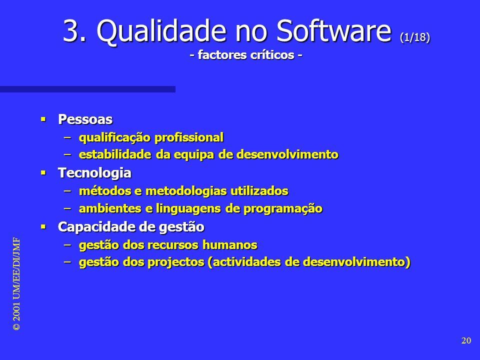 © 2001 UM/EE/DI/JMF 19 Conclusões Conclusões –Muitos profissionais de software acabam por reconhecer a falaciosidade destes mitos. –Infelizmente as pr