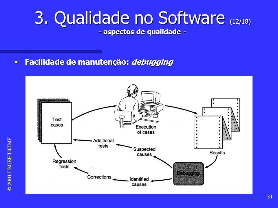 © 2001 UM/EE/DI/JMF 30 3. Qualidade no Software (11/18) - aspectos de qualidade - Facilidade de manutenção Facilidade de manutenção –O termo manutençã