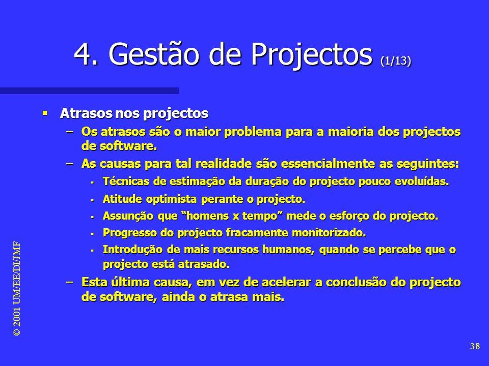 © 2001 UM/EE/DI/JMF 37 3. Qualidade no Software (18/18) - aspectos de qualidade - Conclusões Conclusões –A enumeração dos aspectos de qualidade no des