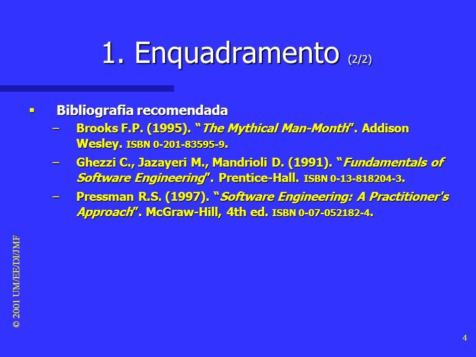 © 2001 UM/EE/DI/JMF 3 1. Enquadramento (1/2) Objectivos deste módulo Objectivos deste módulo –Apresentar os mitos mais comuns associados ao software.