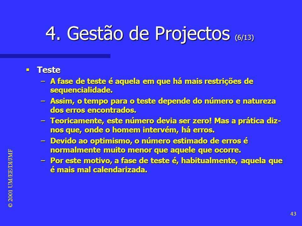 © 2001 UM/EE/DI/JMF 42 4. Gestão de Projectos (5/13) Homens x Meses Homens x Meses –O esforço de comunicação provém de 2 actividades: formação e inter