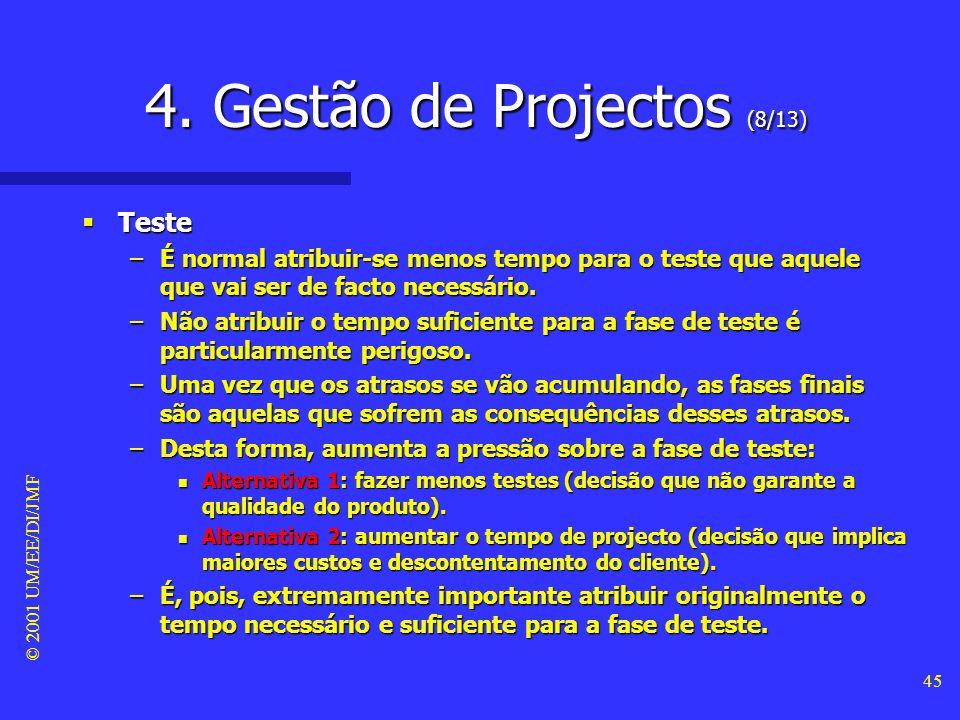 © 2001 UM/EE/DI/JMF 44 4. Gestão de Projectos (7/13) Teste Teste –Uma regra (informal) a seguir para a calendarização dum projecto de software de gran