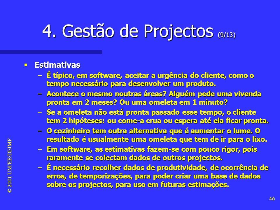 © 2001 UM/EE/DI/JMF 45 4. Gestão de Projectos (8/13) Teste Teste –É normal atribuir-se menos tempo para o teste que aquele que vai ser de facto necess