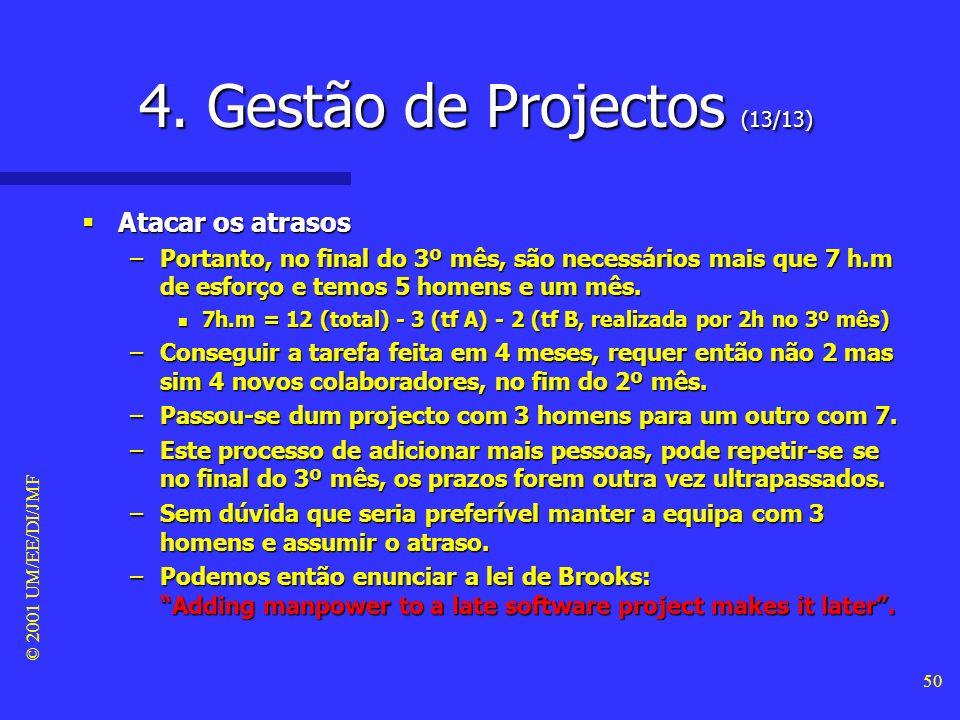 © 2001 UM/EE/DI/JMF 49 4. Gestão de Projectos (12/13) Atacar os atrasos Atacar os atrasos –O pressuposto de que a tarefa se pode ainda fazer em 4 mese