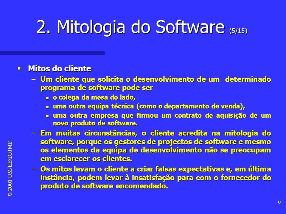 © 2001 UM/EE/DI/JMF 9 Mitos do cliente Mitos do cliente –Um cliente que solicita o desenvolvimento de um determinado programa de software pode ser n o colega da mesa do lado, n uma outra equipa técnica (como o departamento de venda), n uma outra empresa que firmou um contrato de aquisição de um novo produto de software.