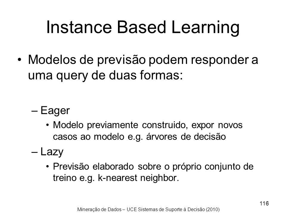 Mineração de Dados – UCE Sistemas de Suporte à Decisão (2010) 116 Instance Based Learning Modelos de previsão podem responder a uma query de duas form