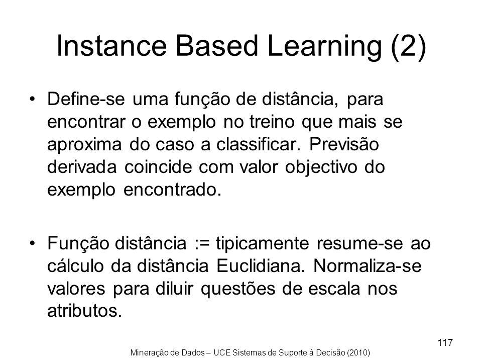 Mineração de Dados – UCE Sistemas de Suporte à Decisão (2010) 117 Instance Based Learning (2) Define-se uma função de distância, para encontrar o exem