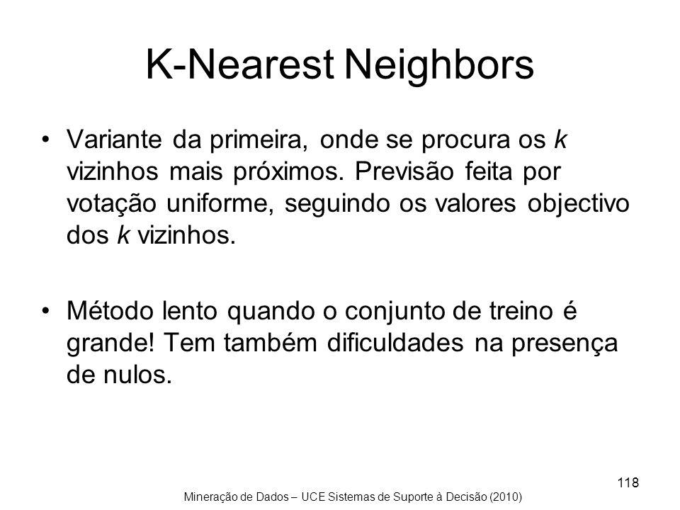 Mineração de Dados – UCE Sistemas de Suporte à Decisão (2010) 118 K-Nearest Neighbors Variante da primeira, onde se procura os k vizinhos mais próximo